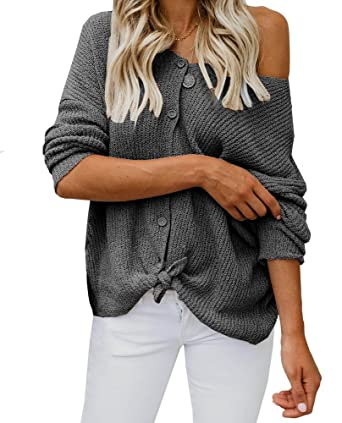 4aa9bde638a Womens Off The Shoulder Tie Knot Front Button Down Shirts Casual Cardigan  Sweaters Dark Gray