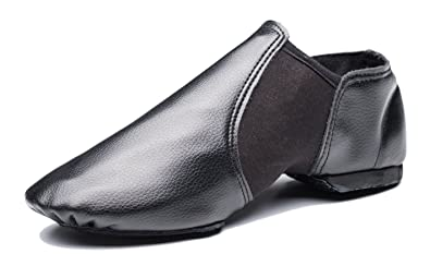 b00b22aab4 Cheapdancing Breathable Practice Jazz Shoes Soft-Soled Black Leather  Ballroom Dance Shoes Unisex for Kids Men Women