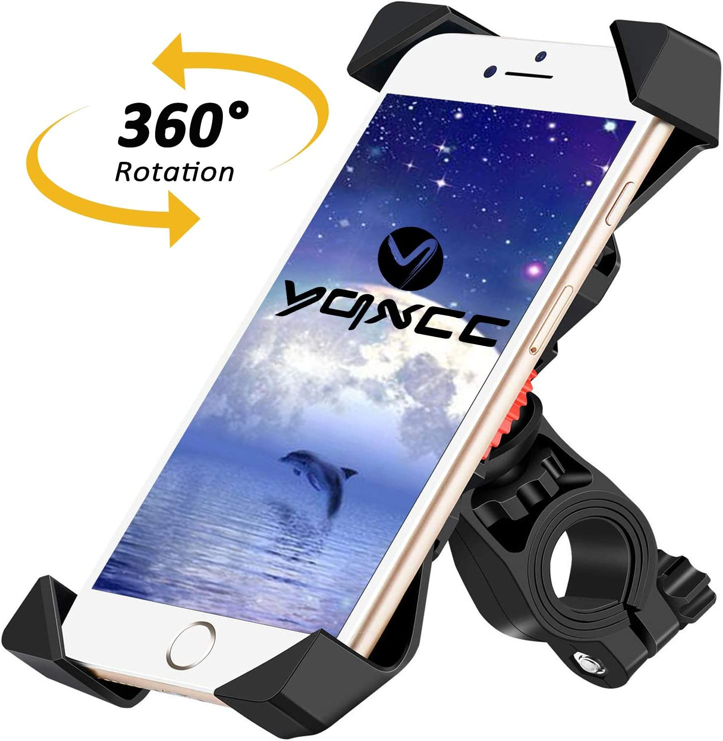 YQXCC Bike Phone Mount Bicycle Holder/Bike Accessories/Bike Phone Holder /360° Rotation Universal Cradle Clamp for iOS Android Smart Phone (Black)