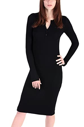 0e891f278ef59a PEACE BY THE SHORE Women's Modal Long Sleeve Henley Dress at Amazon ...