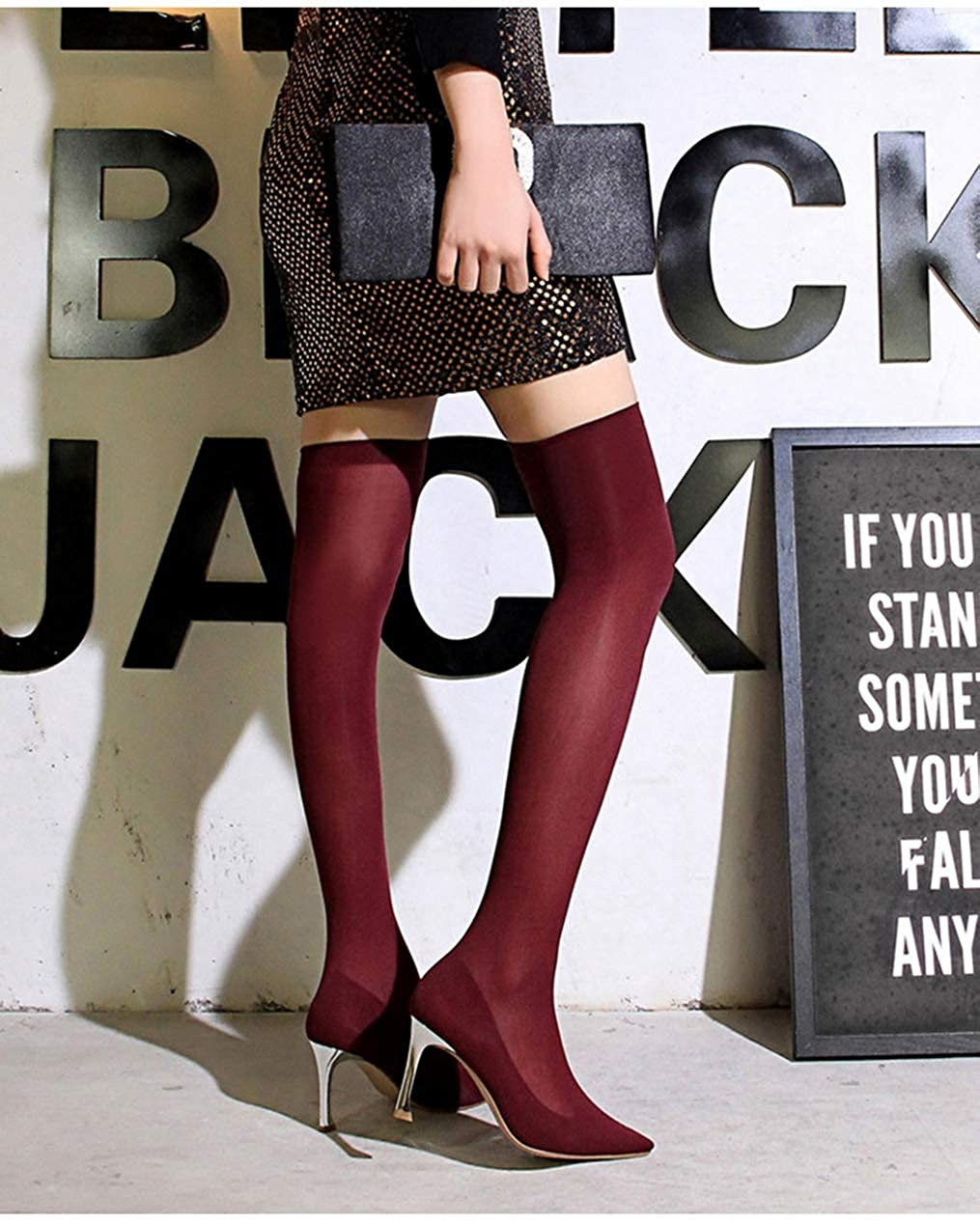 Winter Women Over The Knee Boots Long Stretch Slim Thigh High Sock Boots Fashion Pointed Toe High Heels Shoes