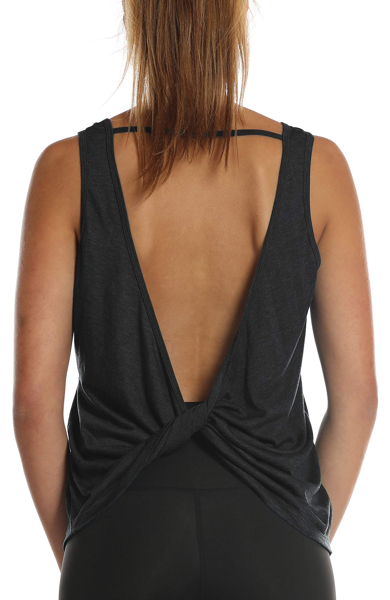 icyzone Workout Tank Tops Women - Open Back Strappy Athletic Tanks, Yoga Tops, Gym Shirts (S, Black)