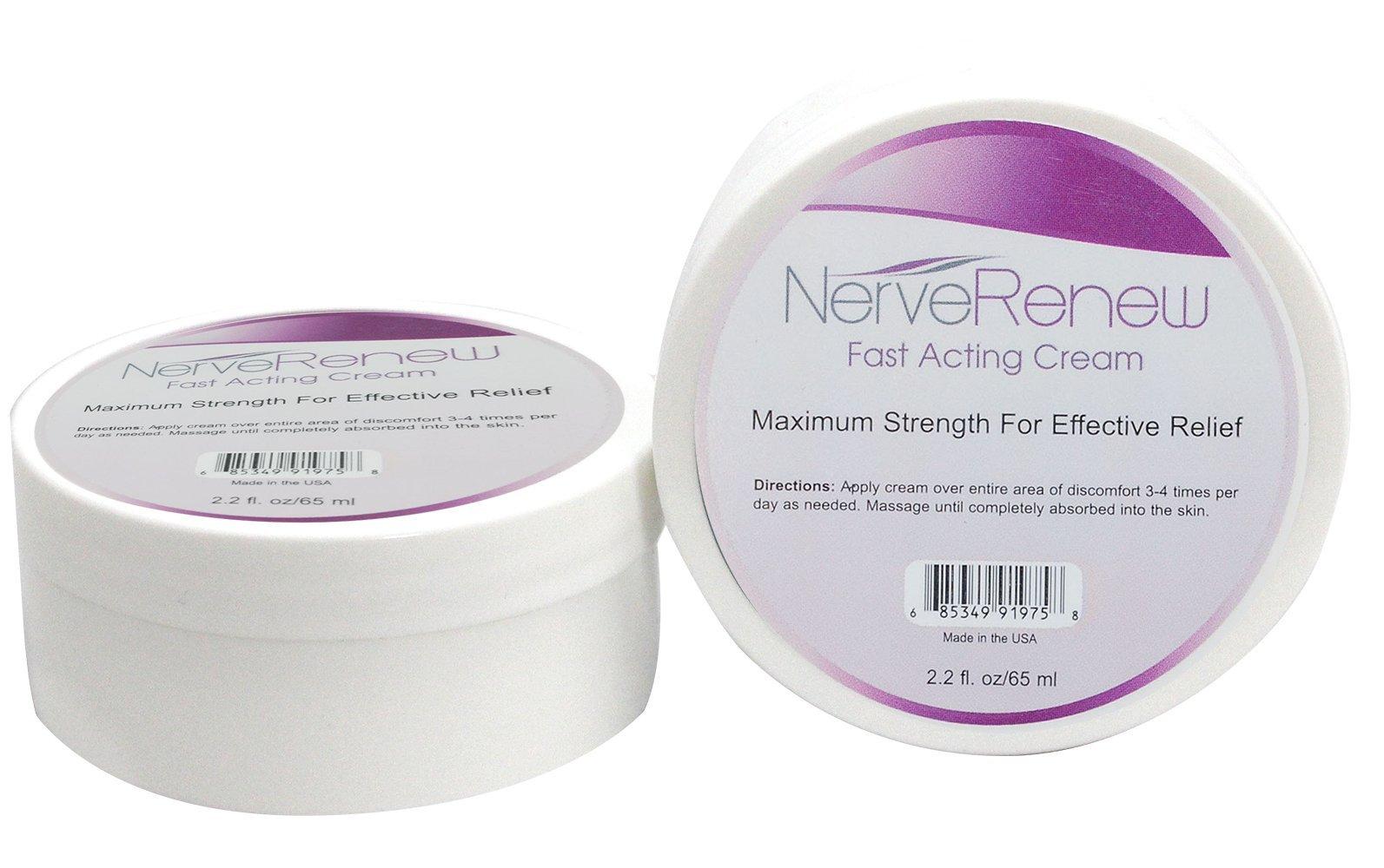 All-Natural Nerve Renew Fast Acting Cream - Absorbs Fast - Safe for Rheumatoid Arthritis - Alternative Nerve Pain Treatment - 2.2 Ounce Jar