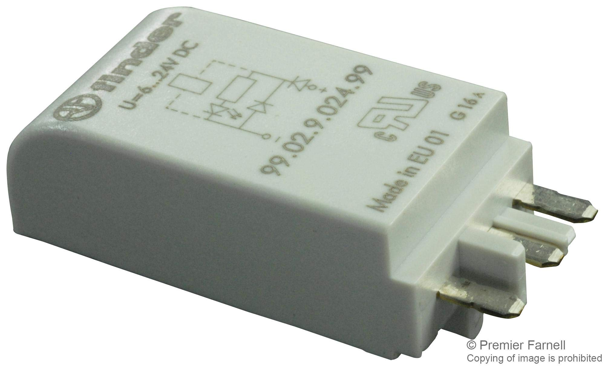 99.02.9.024.99 - Relay Accessory, Coil Indication and EMC Suppression Modules, Finder 95.83 / 85 Series Relays (Pack of 10) (99.02.9.024.99)
