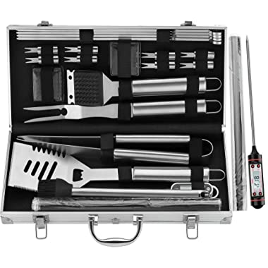 ROMANTICIST 23Pc Heavy Duty BBQ Grill Tool Set with Grill Mat- Great Grill Gift for Groomsmen Men Women Dad - Stainless Steel Outdoor BBQ Grilling Utensils Kit with Grill Thermometer in Aluminum Case