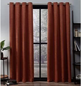 Exclusive Home Curtains Oxford Textured Sateen Thermal Window Curtain Panel Pair with Grommet Top, 52x84, Mecca Orange, 2 Piece
