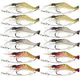 Goture(ゴチュール)エビ ワーム 釣りルアー 夜釣り ソフト シュリンプワーム 海老ルアー 夜間発光 疑似餌 3.5インチ 6g 3-12個セット