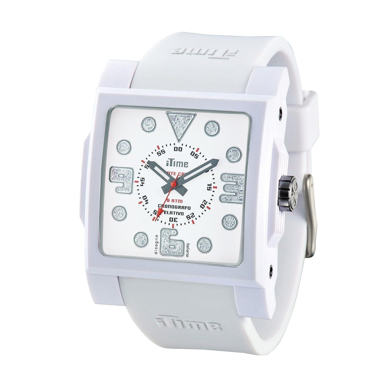 iTime Unisex Armbanduhr mit weißem Zifferblatt Analog-Anzeige und weiße Silikon-D-MC01 MC4300