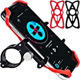 Universal Bike Phone Mount and Motorcycle Phone Holder with 2 Adjustable Anti Shake Silicone Strap, Fits Most Bike Handlebars, Compatible with All Smartphones, iPhone X, XR, 7 8 Plus, Galaxy S9 S8 S7