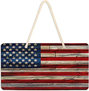 Welcome Sign Front Porch Decor - Old Painted American Flag Front Door Decor Wall Plaque House Wood Sign Porch Decorations Home Decor Hanging