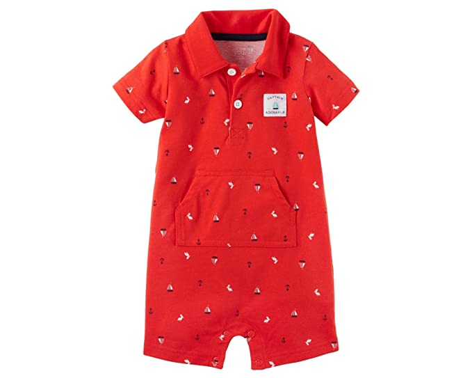 9289c0f24 Carter's Just One You Baby Boys One Piece Captain Adorable Polo Romper Red  (3 Months