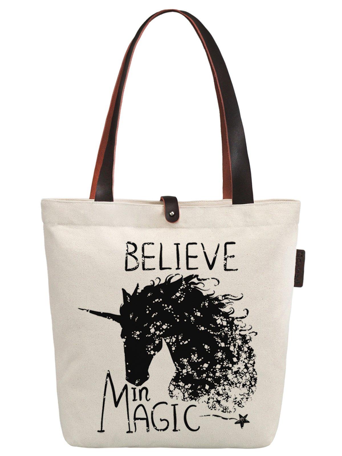 So'each Women's Believe Magic Unicorn Graphic Canvas Handbag Tote Shoulder Bag