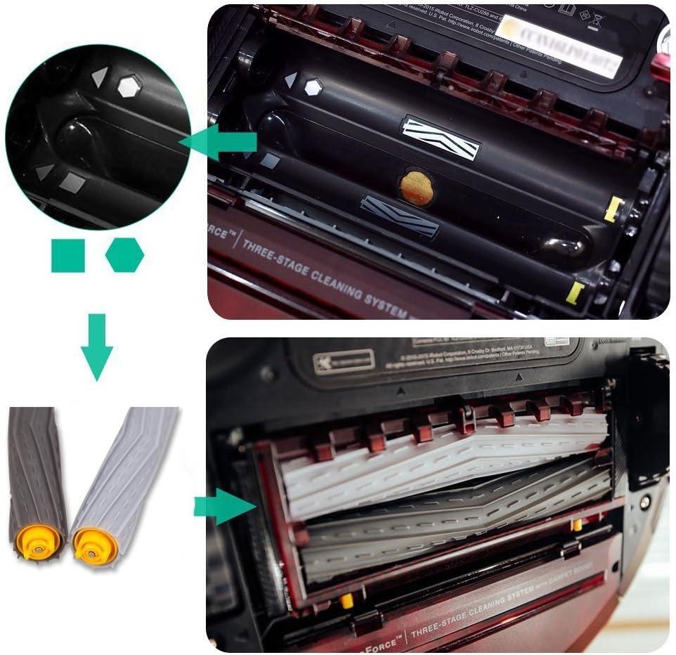 Amoy Rodillos de cepillos Compatible con iRobot Roomba Series 800 ...