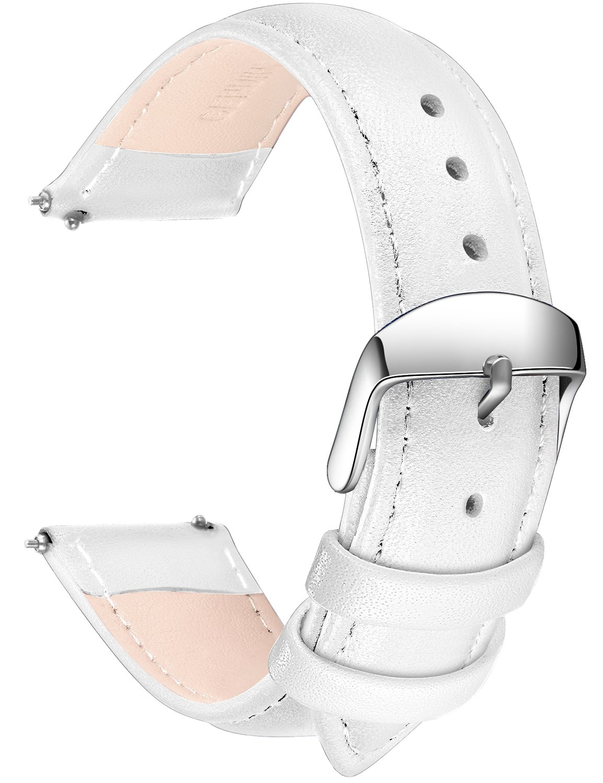 SONGDU メンズ クイックリリース革の時計バンド、ステンレス金属のバックルの留め金16ミリメートルとフルグレイン本革の交換用時計ストラップ、18ミリメートル、20ミリメートル、22ミリメートル、24ミリメートル 24ミリメートル 白 B078TCWPDM 24ミリメートル|白 白 24ミリメートル