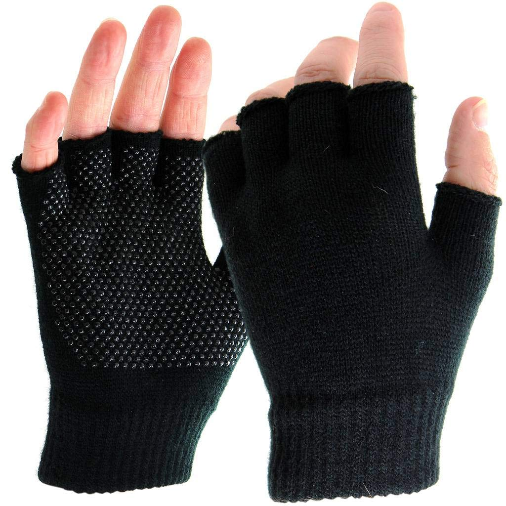 Nylon Fingerless Safety Gripper Work Gloves with PVC Polka Dots, PPE for General use and Warehouse. One Size Fits Most (1 Pair) POWCOG