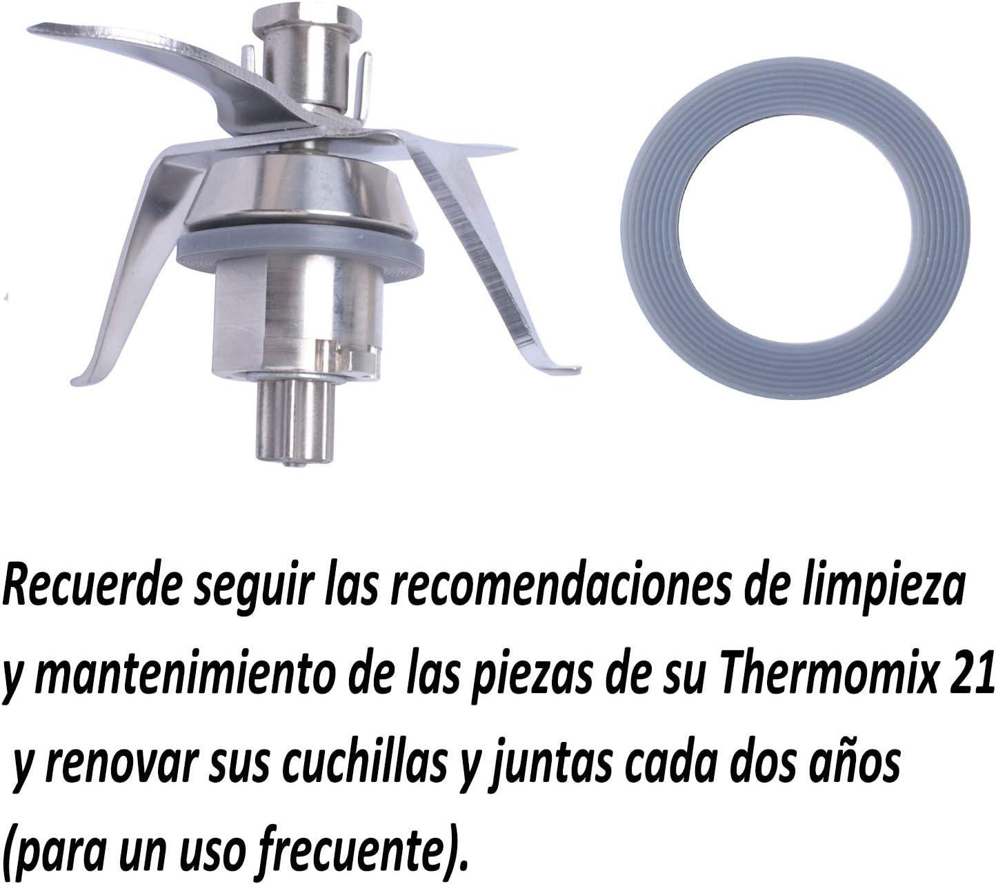 Poweka Cuchilla de Repuesto Compatible con Vorwerk Thermomix TM21 Robot de Cocina con 2 Juntas