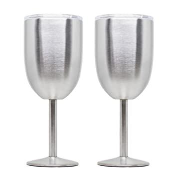 311e6e1113c Artigee Stainless Steel Wine Glass, 10 oz Double Walled Vacuum Sealed Insulated  Wine Goblet with