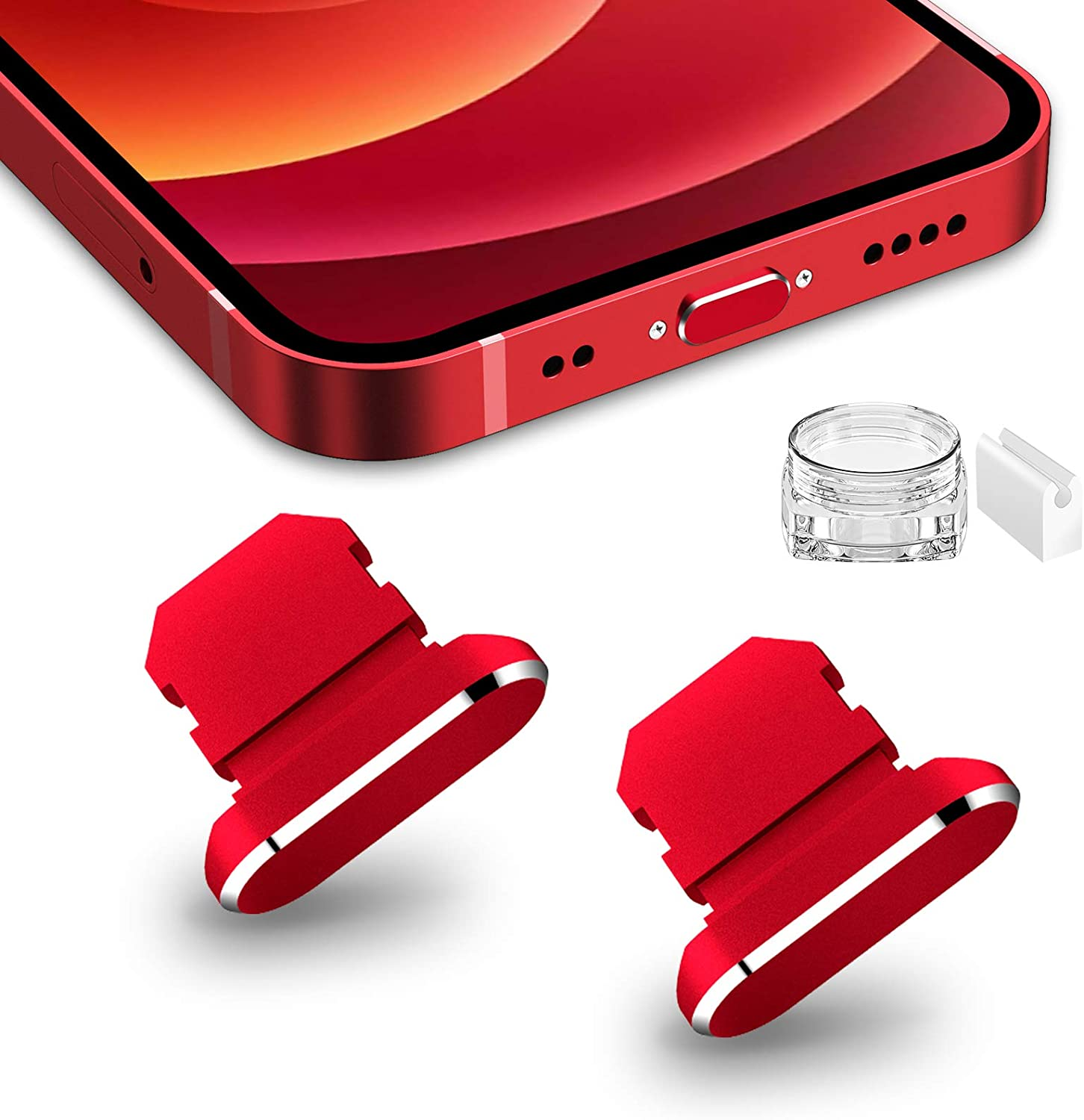 TITACUTE 2 Pack Anti Dust Plugs for iPhone 11/12 Pro Max Dust Cover 8 Pin Dust Plug with Mini Storage Box iPhone Charging Port Plugs Compatible with iPhone 12 Mini/ 11 Pro/XS/XR/ 8 Plus Red