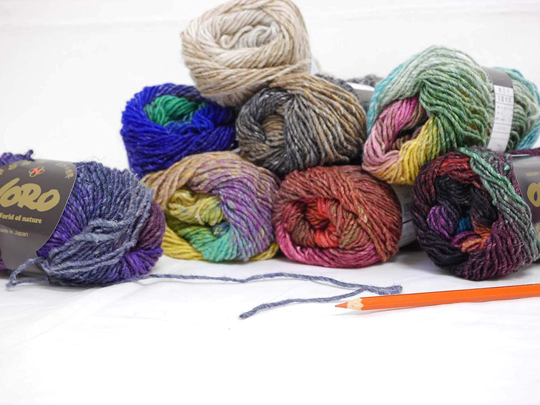 :Silk Garden #279: NORO silk mohair wool yarn Browns-Moss-Teal-Fuchsia
