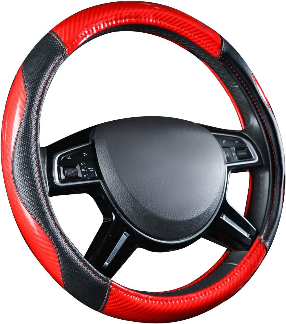 Yellow CAR-GRAND Sporty Carbon Leather Universal Steering Wheel Covers,Fit for Cars,sedans,Trucks,Vans