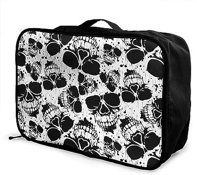 American Flag Skull Travel Carry-on Luggage Weekender Bag Overnight Tote Flight Duffel In Trolley Handle