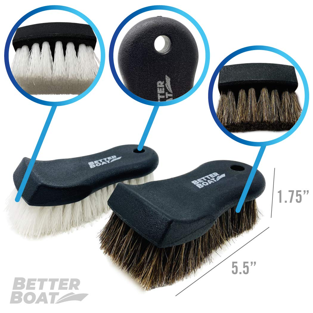 Sofa and Carpet Upholstery Cleaner Scrub Brush Set Cleaning Brush and Horsehair Detailing Brush for Car Interior Couch Seats Boat