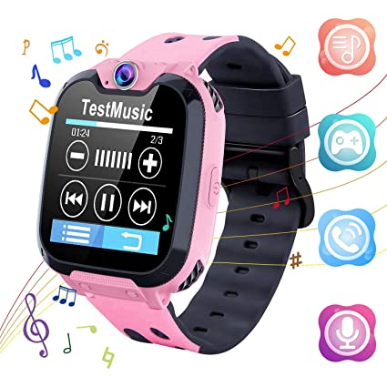 Kids Smart Watch - HD Touch Screen Sports Smartwatch Built in SD Card Two-Way Call Camera Games Recorder Alarm Clock Music Player Calculator for ...