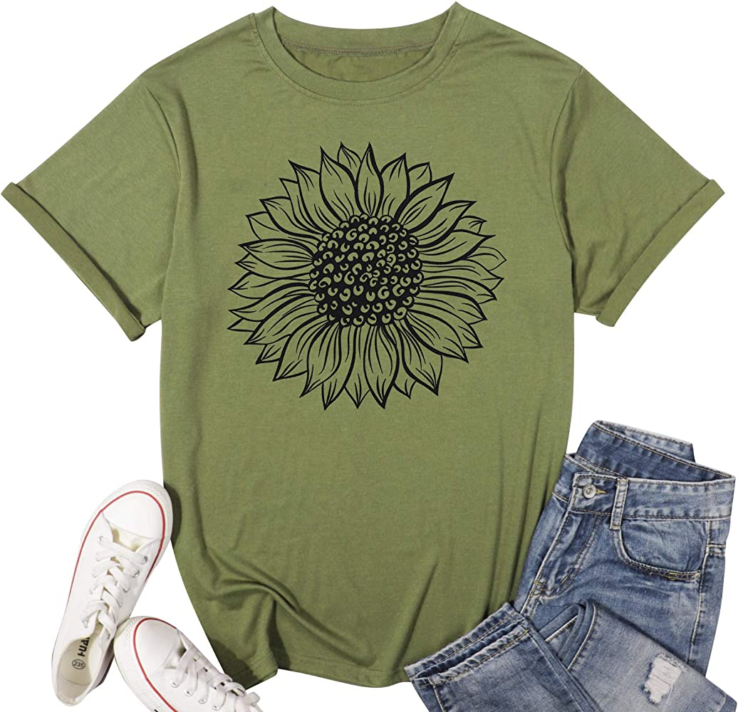 Shirts for Women Summer Sunflower Shirts Women Funny Floral Graphic Tee Casual Summer Short Sleeve T Shirt Tops