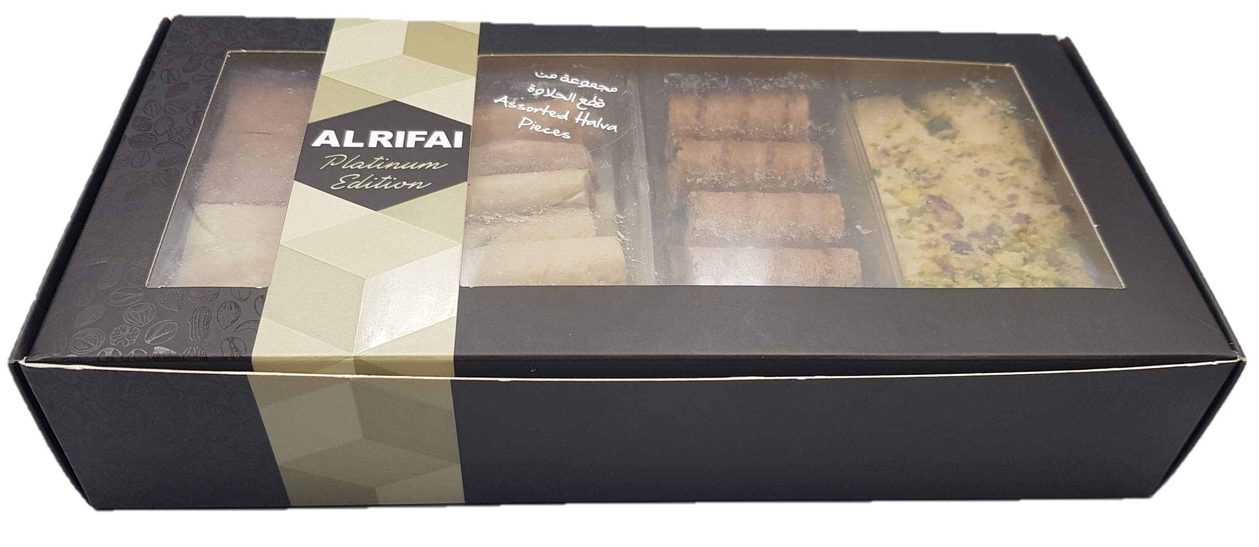 Artisanal Halvah Bars Assorted - 5 Varieties: Pistachio, Marble & Plain - Tahini Halvah Bars (1.8 lbs, 30 Oz, 800 Grams NET, 85-90 Pcs, 4 Layers) Halawa - Flaky Turkish Halva Very Classy Box by Turkish Delight (Image #6)