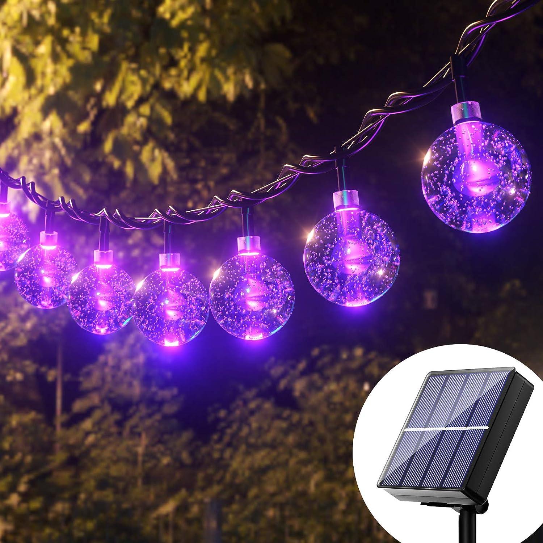 Halloween Solar Globe String Lights - 36Ft 60 Led Purple Solar Globes, Solar Powered Bubble Crystal Ball String Lights Outdoor, 8 Mode Waterproof Patio Lights Solar For Garden, Patio, Gazebo, Party