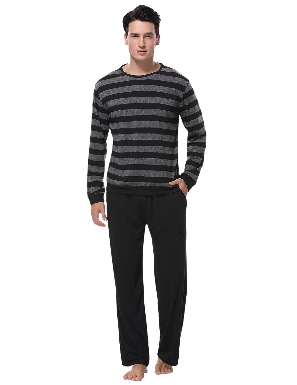 Aibrou Mens Cotton Pajama Long Sleeve Striped Top and Bottom Pajama Set