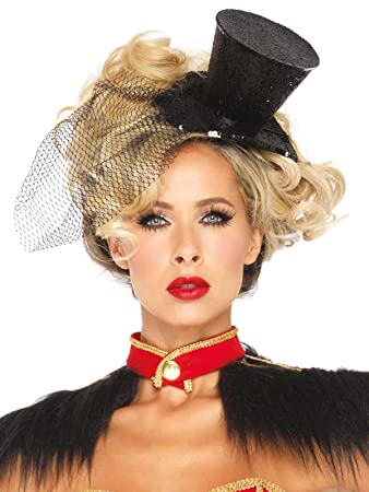 1d9ead6b7bf18 Burlesque Mini Top Hat with Veil black  Amazon.co.uk  Toys   Games