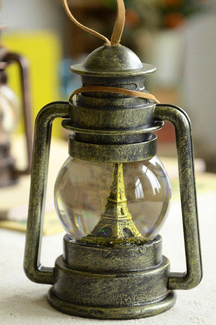 Greencherry Vintage Bronze Color Barn Lantern Hurricane Lamp LED Crystal Ball (Medium)