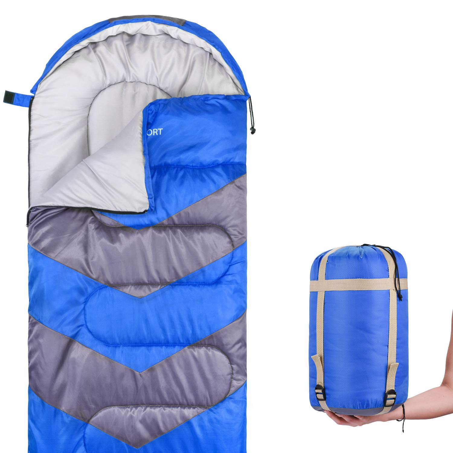 Abco Tech Sleeping Bag - Envelope Lightweight Portable, Waterproof, Comfort with Compression Sack - Great for 4 Season Traveling, Camping, Hiking, Outdoor Activities & Boys. (Single) (Blue) by Abco Tech