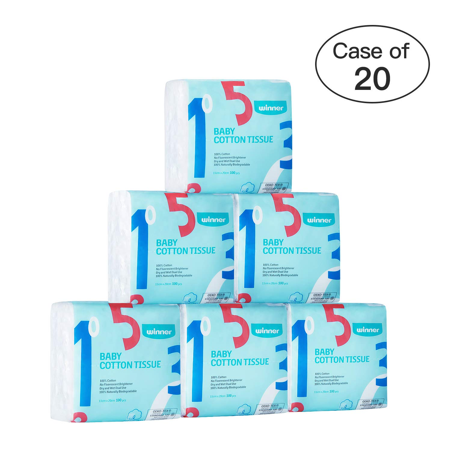 Case of 20,Winner Facial Cotton Tissue, Unscent Dry Cleansing Cloth Wipes for Sensitive Skin, 600 Pcs/Set
