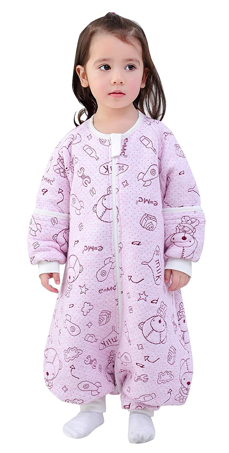 Happy Cherry Baby Sleep Bag Detachable Sleeves 3 Zip Warm Wearable Blanket 0-5T
