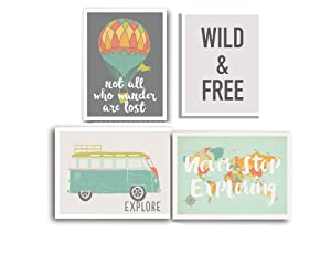 Kindred Sol Collective Wild and Free Boho Nursery Decor, Set of Four 11x14 Unframed Prints, Kids Art for Nurseries, Bedrooms, Playrooms, or Classrooms, Adventure Nursery Decor