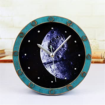 RFVBNM Madera Rust Acuario galaxia galaxia hermoso planeta reloj despertador reloj de escritorio Retro mudo A/12*12cm: Amazon.es: Hogar