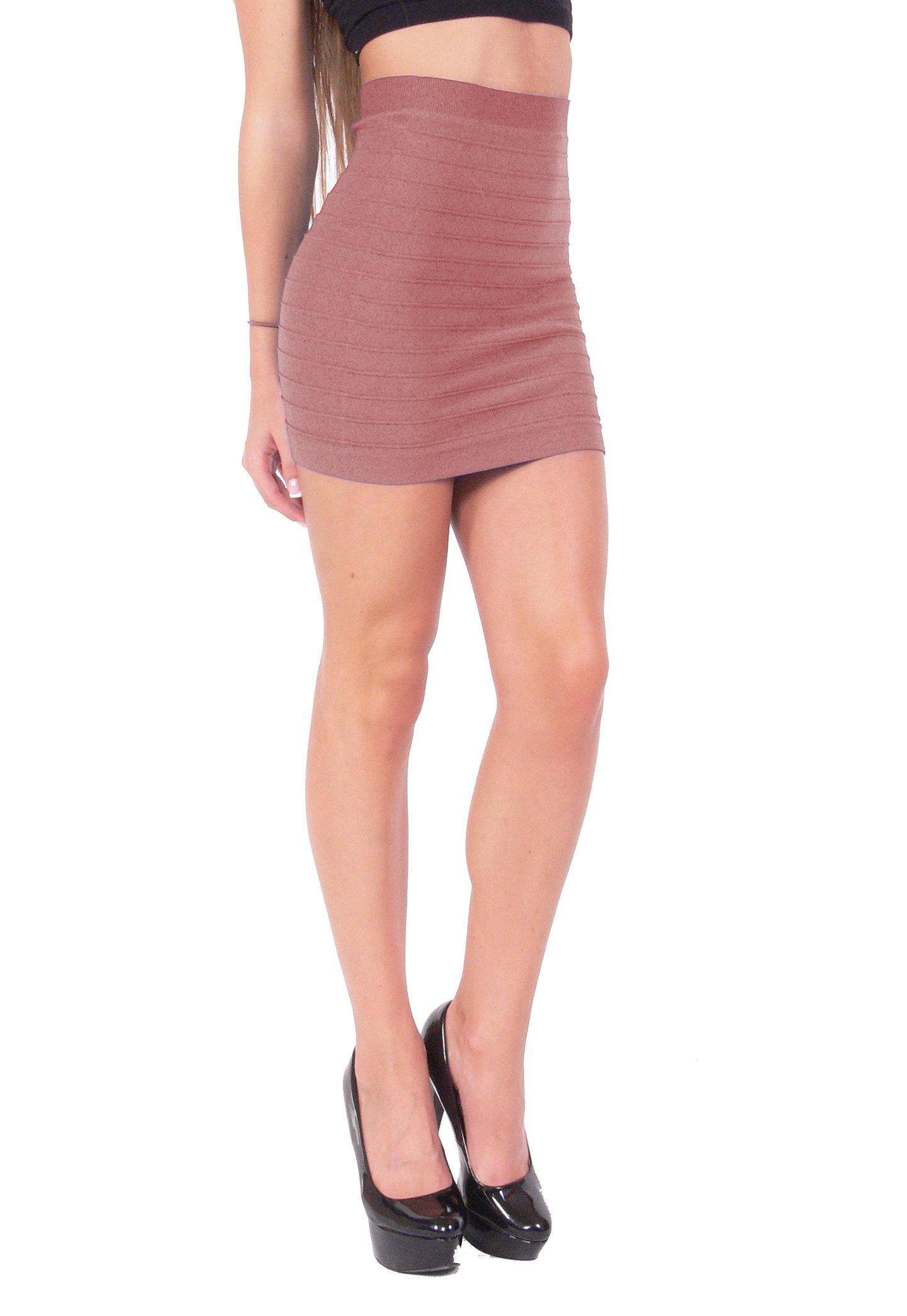 Hollywood Star Fashion Bandage Style Mini Skirt Knit Stretch Fabric (One Size, Mauve)