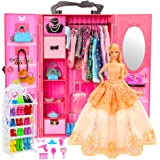 Barwa 73 Accessories for 11.5 Inch 28 - 30 cm Girl Doll: 1 Fashion Closet Wardrobe + 1 Shoe Rack + 16 Dresses Clothes…