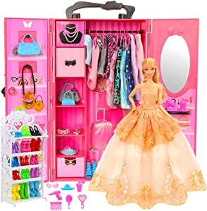 Barwa 73 Accessories for 11.5 Inch 28 - 30 cm Girl Doll: 1 Fashion Closet Wardrobe + 1 Shoe Rack + 16 Dresses Clothes + 10 Pcs Shoes + 10 Hangers + 6 Necklace + 6 Crowns + 23 Accessories Xmas Gift