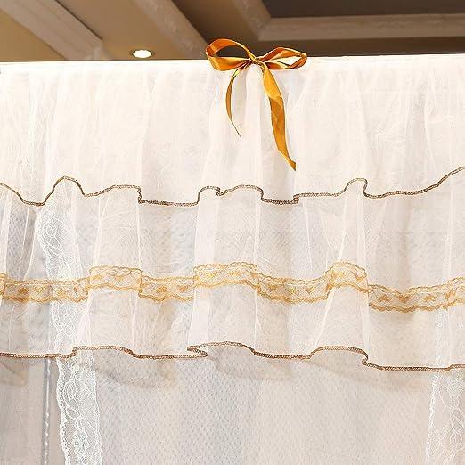 120 * 200 * 200cm Wifehelper Luxury Mosquito Net Princess Four Corner Post Elegante Cortina de Cama Pabell/ón de Malla Malla de Cama Pabell/ón de Juego Instalaci/ón f/ácil para Viajes de Dormitorio