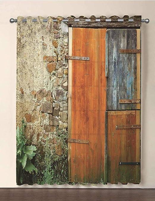 iprint Cortina de Gasa Extra Ancha para Puerta de Patio, Retro, con Textura Vintage, Estilo Hippie, con Formas Curvas, Puertas correderas (108 Pulgadas de Ancho x 96 L): Amazon.es: Hogar