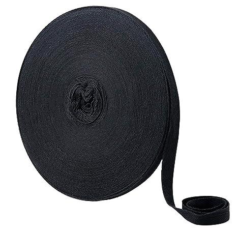 Cotton Tape 55 Yard 1 inch Bias Binding Tape Cotton Bunting Tape Apron Herringbone Twill Webbing Tape for Sewing Dressmaking Alteration DIY Craft Black