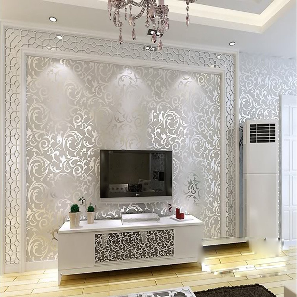 Superb QIHANG Sliver Gray Victorian Damask Embossed Textured Wallpaper  0.53m10mu003d5.3㎡     Amazon.com