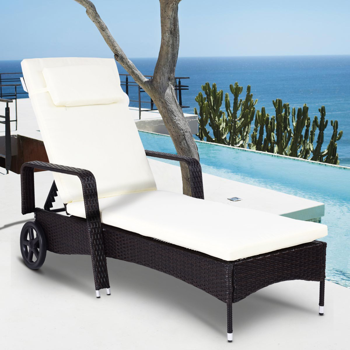 COSTWAY Rattan Sun Lounge Chair Bed Recliner Chaise Furniture W/Cushion Outdoor Garden