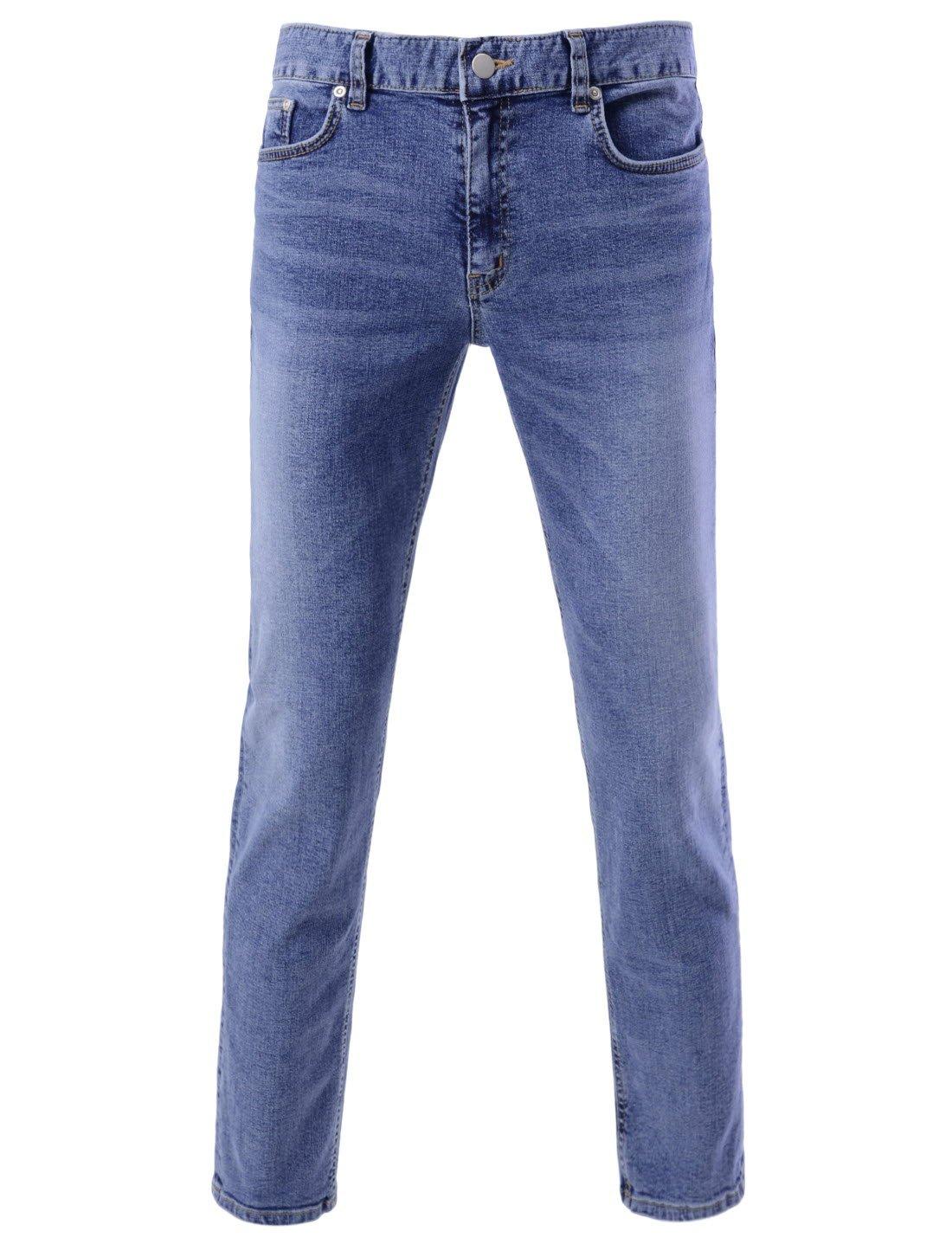 DETYLISH SJ2018 Mens Slim Fit Basic Denim Pants Comfy Stretchy Washing Jeans Blue 29W/27L(Tag Size M)