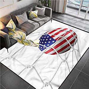 Area Rug Rugs Print Large Floor Mat Sports,USA Flag Soccer Ball in Net Office Chair mat for Carpet for Living Playing Dorm Room Bedroom 4'x6'