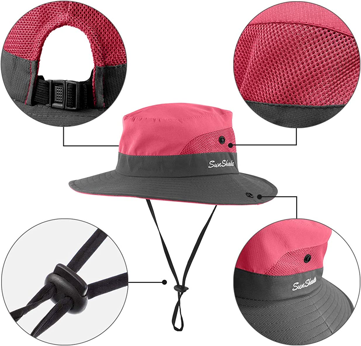 IYEBRAO 2 Pieces Kids Sun Hat with Ponytail Hole UPF 50 Summer Cap for Girls Beach & Fishing