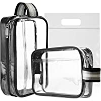 MOCOCITO Clear Toiletry Bag with Airport Security Liquid Bag (20cm x 20cm) Approved by EU & UK Hand Luggage Relugations |Transparent Zipper Bag for Cosmetics|Wash Bag Kit Make up Pouch[2pcs]